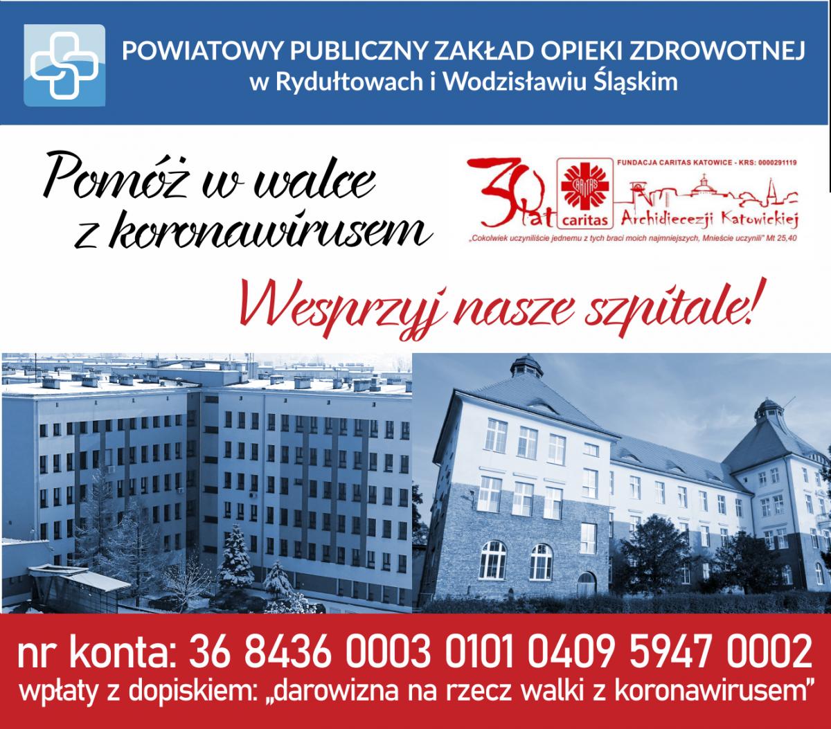 plakat o wparciu finansowym dla szpitali